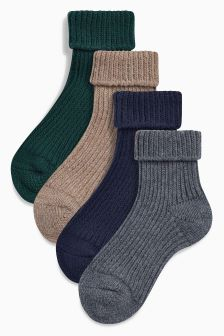 Heavy Gauge Turn Over Socks Four Pack (Younger Boys)