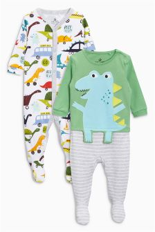Dinosaur Sleepsuits Two Pack (0mths-2yrs)