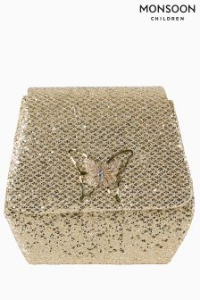 Monsoon Gold Cutout Glitter Butterfly Bag