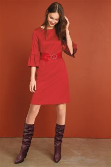 Flute Sleeve Textured Dress