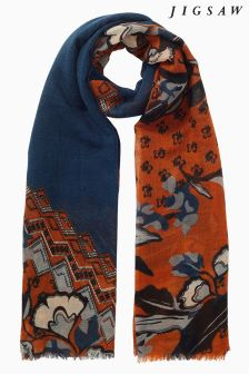 Jigsaw Orange Nordic Floral Wool Scarf