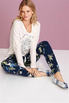 Slogan Floral Jersey Pyjamas
