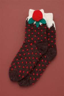 Christmas Pudding Bed Socks One Pack