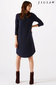 Jigsaw Blue Rib Detail Curve Hem Dress