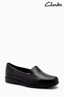 Clarks Wide Fit Georgia Leather Square Toe Flat Shoe