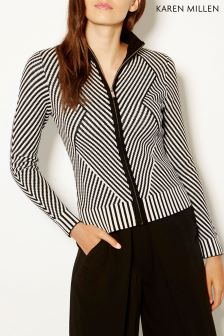 Karen Millen Grey Chevron Knit Cardigan