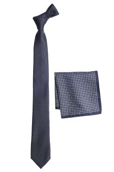 Tie And Printed Pocket Square Set