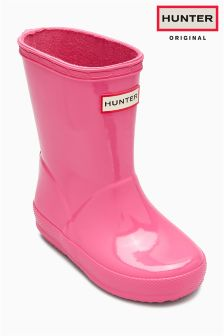 Hunter Original Pink Little Kids First Gloss Wellington Boot