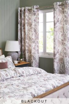 Birds Cotton Sateen Blackout Eyelet Curtains