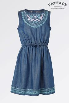 Fat Face Denim Embroidered Dress