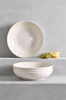 Set Of 4 Geo Pasta Bowls
