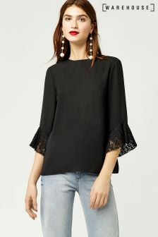 Warehouse Black Lace Cuff Top