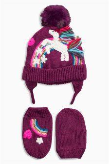 Unicorn Hat And Gloves Set (Younger Girls)