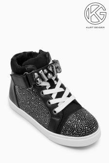 Mini Miss KG Black Jewel High Top Lace Up Sneaker