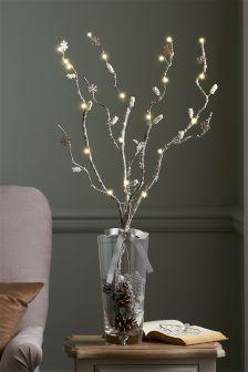 Set Of 3 Lit Snowflake Twigs