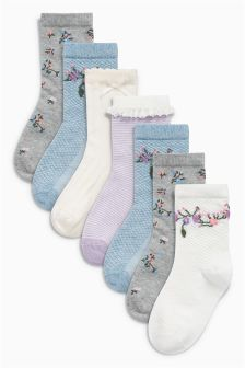 Floral Socks Seven Pack (Younger Girls)