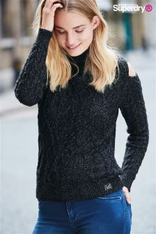 Superdry Black Juno Marl Aran Cold Shoulder Knit