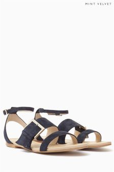 Mint Velvet Navy PENNY Oversized Buckle Sandal