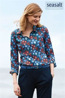 Seasalt Blue Pen Mark Floral Night Print Larissa Shirt