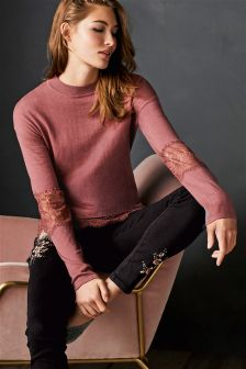 Lace Insert Sweater