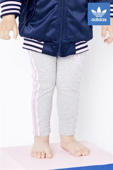 adidas Originals Baby Grey/Pink 3 Stripe Legging