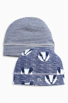 Stripe And Badger Hats Two Pack (0mths-2yrs)