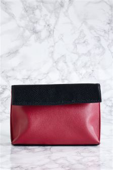 Black/Red Foldover Cosmetic Bag