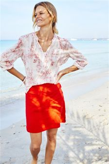 Linen Blend Printed Skirt