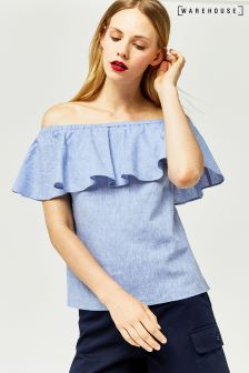 Warehouse Blue Chambray Bardot Ruffle Top