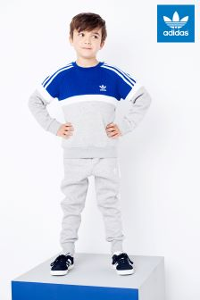 adidas Originals Little Kids Grey/Blue Crew Tracksuit