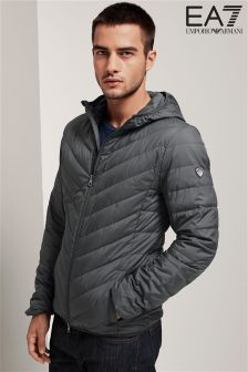 Emporio Armani EA7 Anthracite Grey Shield Down Hooded Jacket