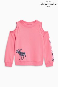 Abercrombie & Fitch Pink Logo Cold Shoulder Crew