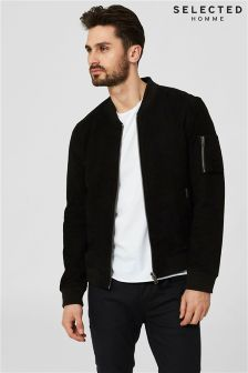 Selected Homme Black Suede Bomber Jacket