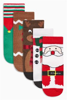 Christmas Character Socks Five Pack (Younger Boys)