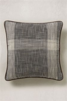 Small Astley Check Cushion With Faux Leather Piping