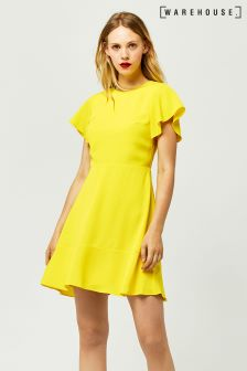 Warehouse Yellow Flared Sleeve Skater Dress