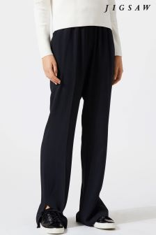 Jigsaw Black Crepe Relaxed Parallel Trouser