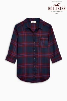 Hollister Red/Navy Check Long Sleeve Shirt