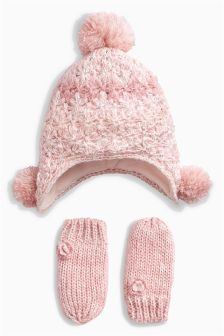 Hat And Mitts Set (Younger Girls)
