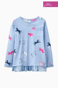 Joules Blue Unicorn Peplum Top