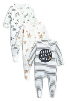 Night Owl Sleepsuits Three Pack (0mths-2yrs)