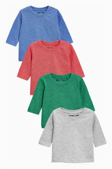 Long Sleeve Textured Tops Four Pack (3mths-6yrs)
