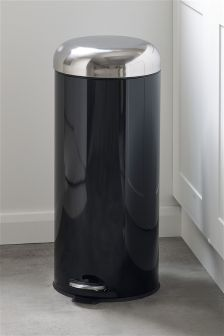 30L Black Pedal Metal Bin