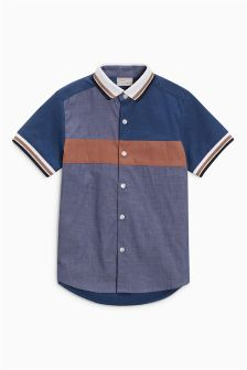 Short Sleeve Colourblock Rib Collar Shirt (3-16yrs)