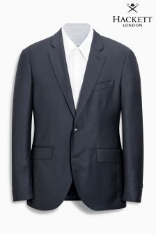 Hackett Blue Plain Wool Twill Jacket