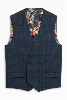 Check Skinny Fit Suit: Double Breasted Waistcoat