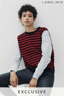 Mix/Osman Stripe Knit With Woven Sleeves