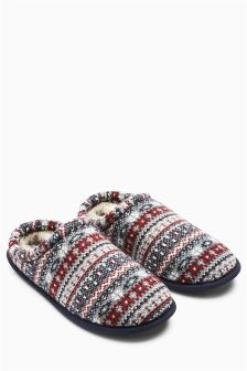 Mix Fairisle Pattern Mule