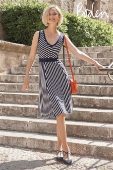 Boden Navy/Ivory Stripe Sleeveless Stripe Dress