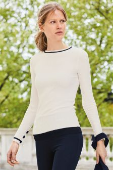 Ribbed Button Sleeve Sweater